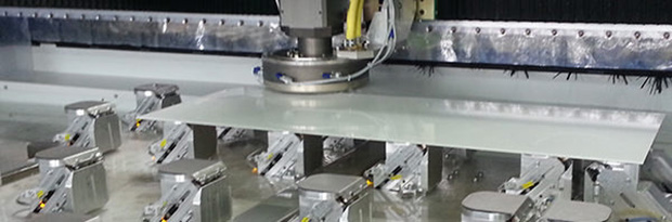 Edge processing of rectangular glass